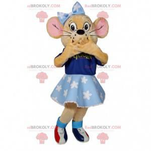 La mascota del ratoncito con su tutú y su camiseta azul -