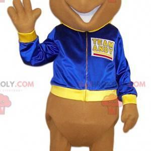 Formiga mascote bege com sua jaqueta azul - Redbrokoly.com