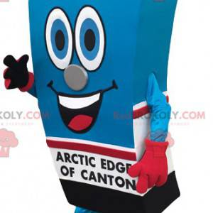 Mascot brick of orange juice colored blue and red -