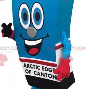 Mattone mascotte di succo d'arancia di colore blu e rosso -