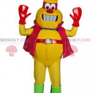 Maskot žlutého hmyzu s pláštěm a červenou čelenkou -