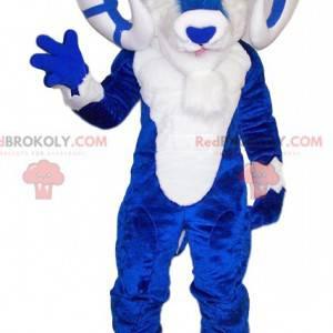 Majestoso mascote carneiro azul e branco - Redbrokoly.com