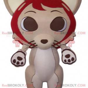 Raposa mascote bege e seu grande chapéu vermelho -