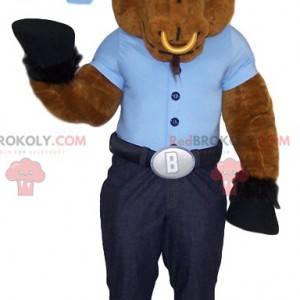 Brown Beef Maskottchen mit seinem blauen T-Shirt und seinem