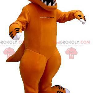 Mascote dinossauro laranja e branco com dentes grandes -