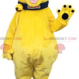 Blikající žlutý maskot psa s černým límcem - Redbrokoly.com
