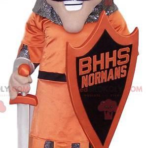 Maskot velkého rytíře s jeho štítem a mečem - Redbrokoly.com