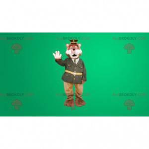 Maskotka niedźwiedź brunatny ubrany w mundur policyjny -