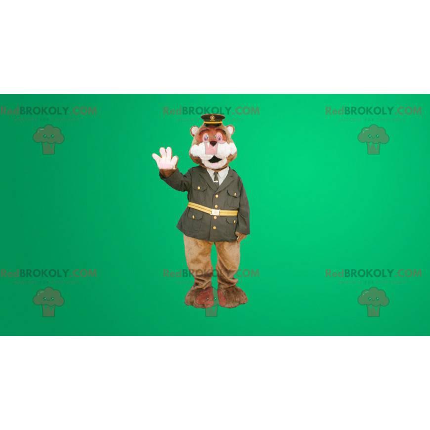 Medvěd hnědý maskot oblečený v policejní uniformě -