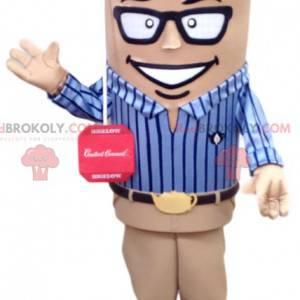 Dynamický muž maskot v modré košili, komerční - Redbrokoly.com
