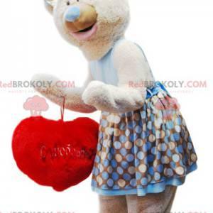 """Maskot béžový medvídek mazlivý s červeným polštářem """"Heart"""" -"""