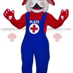 Maskottchen Red St Bernard Rescuer in blauen Overalls -