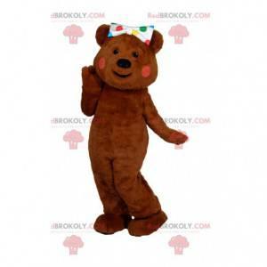 Okouzlující maskot hnědého medvěda s různobarevnou mašlí polka