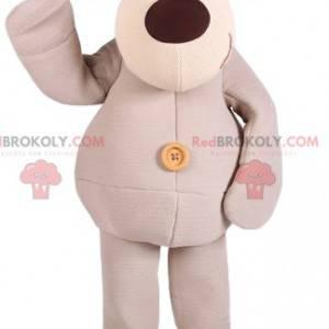 Beige dog mascot with his big brown nose - Redbrokoly.com
