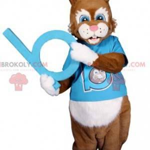 Brun kaninmaskot med sin blå trøye til støtte - Redbrokoly.com