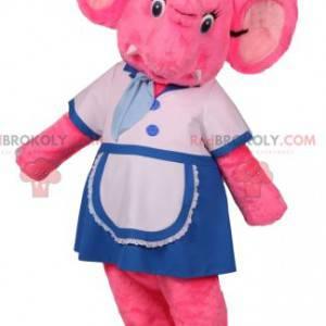 Mascote elefante rosa em traje de garçonete - Redbrokoly.com