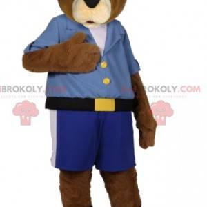 Medvěd hnědý maskot v modrých šortkách a košili - Redbrokoly.com