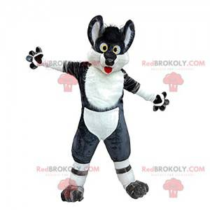 Mascote de lobo preto e branco louco e engraçado -