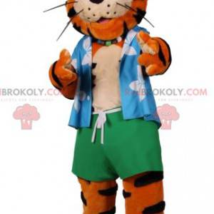 Tiger Maskottchen in Strandkleidung - Redbrokoly.com