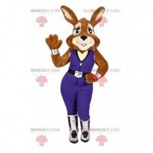 Seksowna maskotka króliczek w fioletowym kombinezonie -