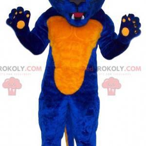 Blaues und gelbes wildes Leopardenmaskottchen - Redbrokoly.com