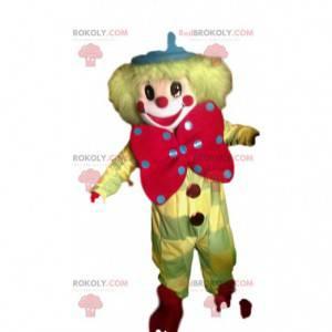 Gelbes Clown-Maskottchen mit einer großen roten Schleife -