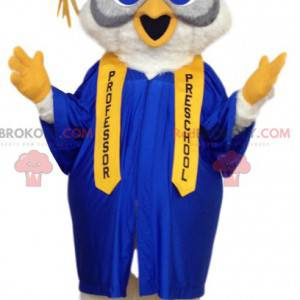 Mascot giant gray and white owls in student outfit -