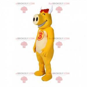 Mascota de cerdo amarillo muy divertida - Redbrokoly.com