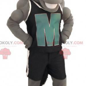 Mascotte cavallo grigio con abbigliamento sportivo nero -