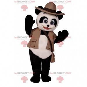 Panda-Maskottchen mit seinem Abenteurer-Outfit - Redbrokoly.com