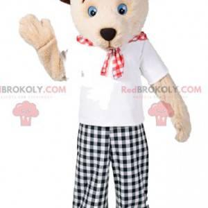 Medvěd maskot s jeho černé a bílé gingham kalhoty -