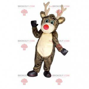 Mascote de rena marrom com nariz grande e vermelho -