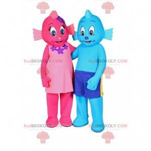 Two pink and blue snowman mascots - Redbrokoly.com