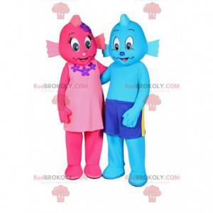 Zwei rosa und blaue Schneemannmaskottchen - Redbrokoly.com
