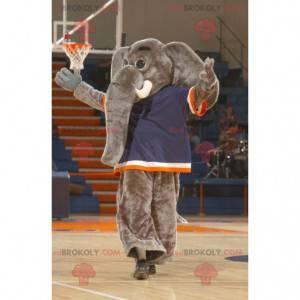 Gigante mascotte elefante grigio con un grande tronco -
