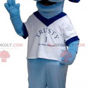Modrý psí maskot s bílým tričkem - Redbrokoly.com