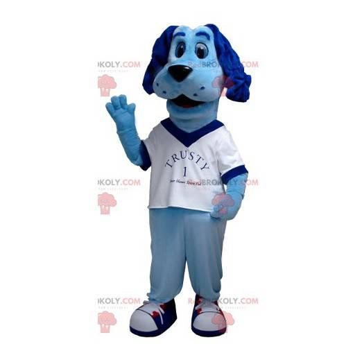 Blaues Hundemaskottchen mit einem weißen T-Shirt -