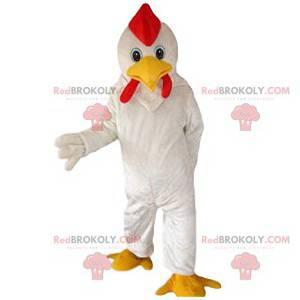 Super mascote de frango branco e sua crista vermelha -