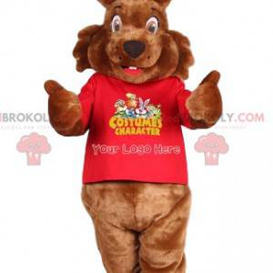 Brown rabbit mascot and red jersey - Redbrokoly.com