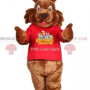 Maskot hnědý králík a červený dres - Redbrokoly.com