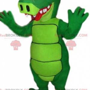 mascote jacaré verde neon e engraçado - Redbrokoly.com
