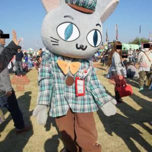Giant gray rabbit mascot dressed in Scottish attire -
