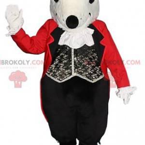 Mascotte topo grigio con il suo costume da cameriere -