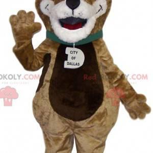 Very funny brown and white dog mascot - Redbrokoly.com