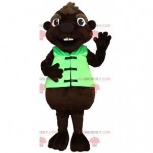 Bobr maskot se svou zelenou vestou - Redbrokoly.com
