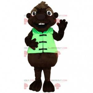 mascota del castor con su chaleco verde - Redbrokoly.com