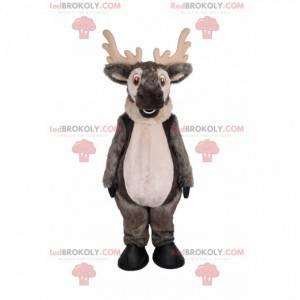 Grå rensdyrmaskot med et stort smil - Redbrokoly.com