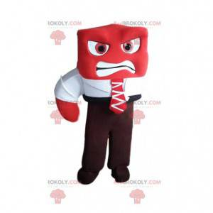 Aggressive red snowman mascot with his suit and tie -