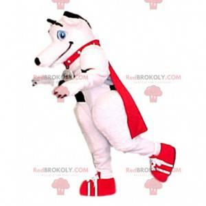 White dog mascot with his red cape - Redbrokoly.com