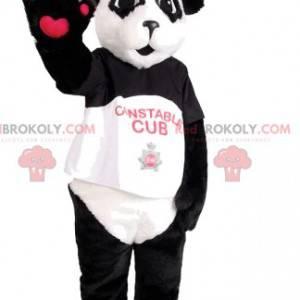 Panda mascotte met zijn pet - Redbrokoly.com